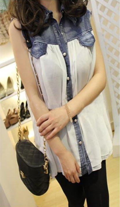 Stiching denim lapel sleeveless white chiffon shirt