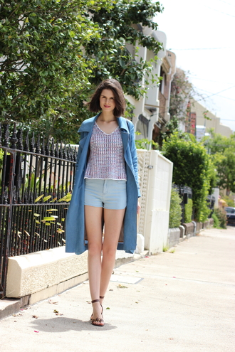 by chill blogger coat shorts sandals blue