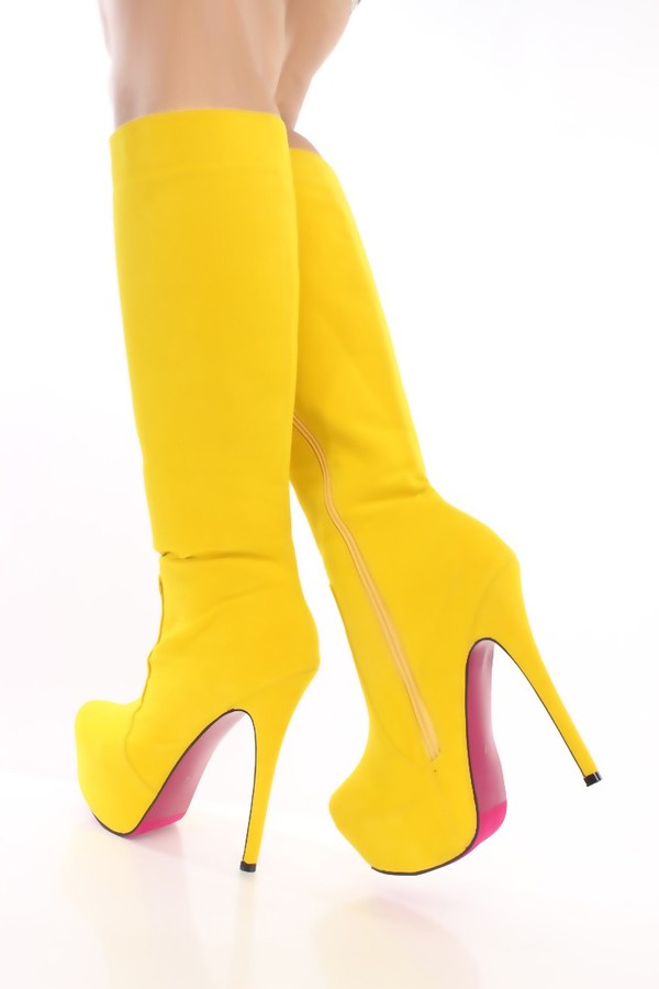 Mustard Faux Suede Knee High Platform Boots @ Amiclubwear Boots