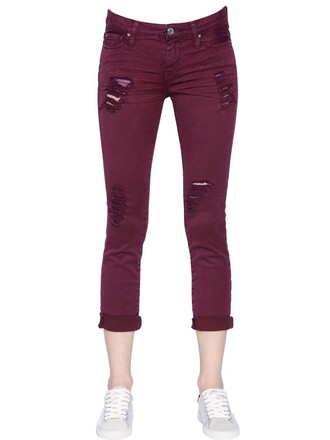 jeans denim cotton burgundy