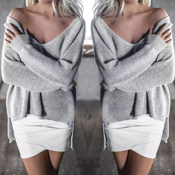 Sweater: sweater dress, sweater weather, grey sweater, oversized ...