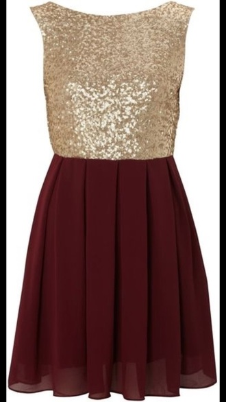 gold sequins red dress