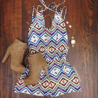 romper summer dress pattern girly shoes brown boots aztec gold watch