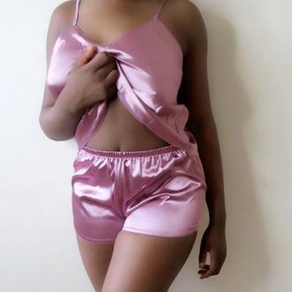 pajamas satin silk silk pajamas shorts clothes lingerie korrine sky intimates
