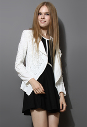 jacket,cut-out,floral,crochet,white,blazer