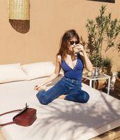 top,jeanne damas,blue top,v neck,plunge v neck,jeans,blue jeans,sunglasses,black sunglasses,summer outfits,bag,brown bag