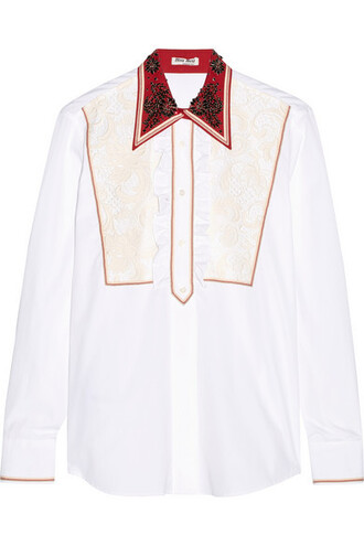 shirt embellished lace white cotton top