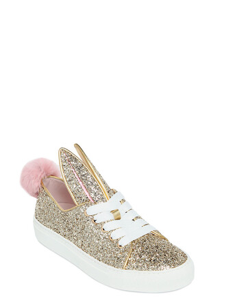 glitter bunny sneakers gold shoes