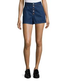 Bronson High-Waist Denim Shorts, Indigo