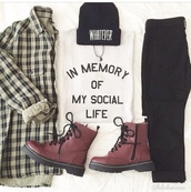 t-shirt,cardigan,jacket,whatever,white t-shirt,social,flannel shirt,top,white tee,shirt,blouse,shoes,graphic tee,DrMartens,hat,jewels,ying yang necklace,brown shoes,boots,style,casual,grunge t-shirt,checkered,in memory of my social life,black,white,tumblr,tumblr outfit,tumblr sweater,sweater,lace dress,dress,flannel,beanie,quote on it,black jeans,home accessory,jeans,beanie.  black,pants,necklace,grunge,grunge jewelry,grunge top,grunge jean jacket,yin yang,whatsapp emoji,hipster jewelry,back to school,kawaii shirt,social life,in memory,rip,huntershirt,tank top,sociallife,printedtee,printed t-shirt,aesthetic,aesthic clothes,aesthetic grunge,90s grunge,funny quote shirt,brown boots,flat boots