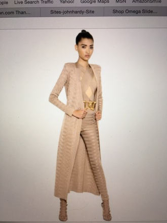 pants balmain nude nude cardigan cardigan long cardigan long sleeves nude pants leggings party outfits sexy outfit winter outfits fall outfits spring outfits summer outfits classy elegant cute girly date outfit clubwear wedding clothes wedding guest