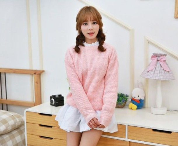 sweater cfashion kfashion jfashion pastel pink