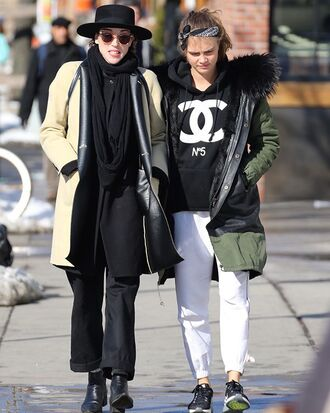 sweater jacket hoodie black hoodie sweatshirt style black cara delevingne chanel chanel sweater designer celebrity casual