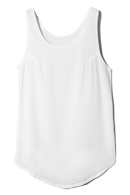 Candy-colored White Sleeveless Shirt, The Latest Street Fashion