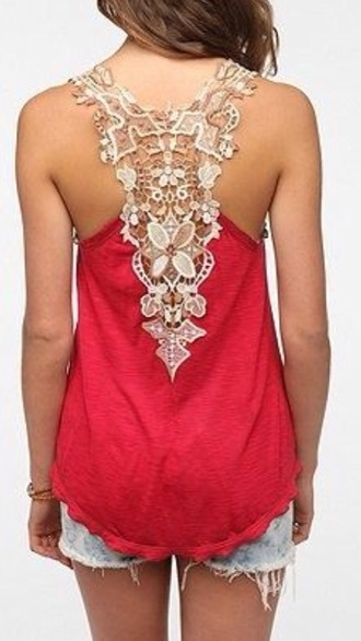 tank top lace back ivory red