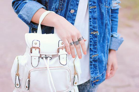 bag backpack white leather handbag leather bag