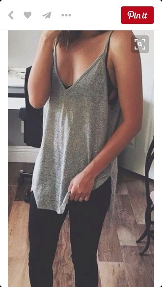 tank top slouch grey grey top cute summer summer outfits loose
