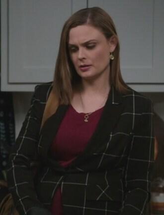 jacket windowpane blazer black bones tv show emily deschanel dr. temperance brennan