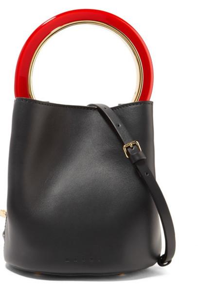 MARNI mini bag bucket bag leather black