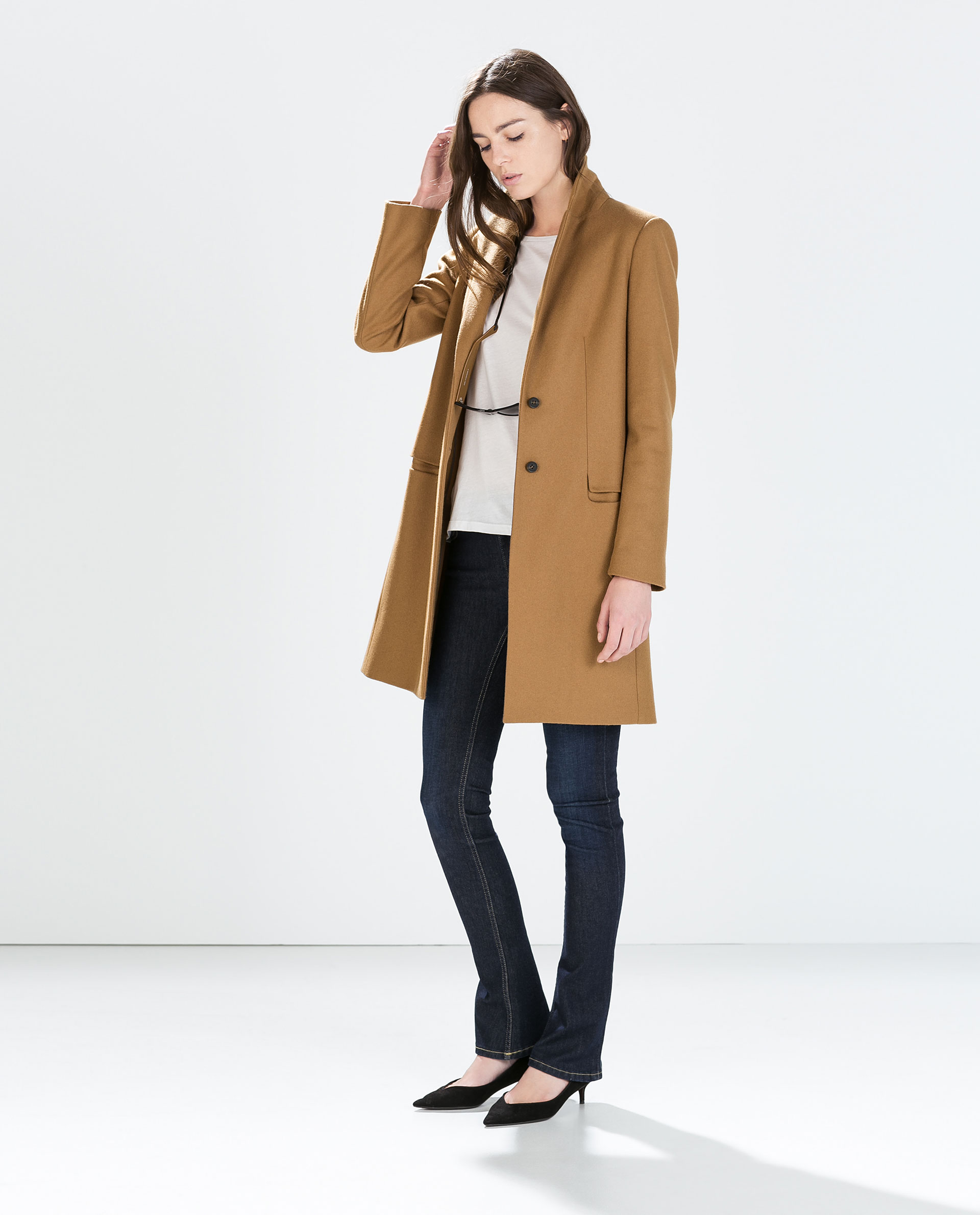 wool camel coat outerwear woman zara united states. Black Bedroom Furniture Sets. Home Design Ideas