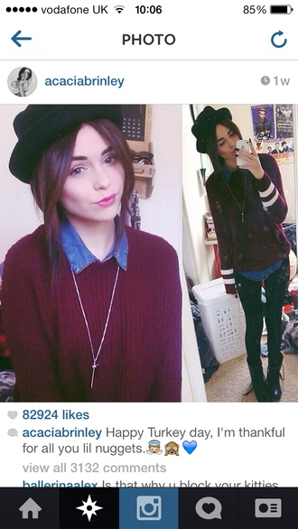 sweater acacia brinley knitted sweater shirt hat jewels