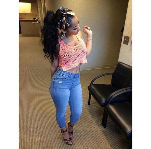 jeans scarf crop tops jewels cute skinny jeans curly hair crop tops top girly outfit denim pants heels black girls killin it blouse tammy riviera pink crop top shirt