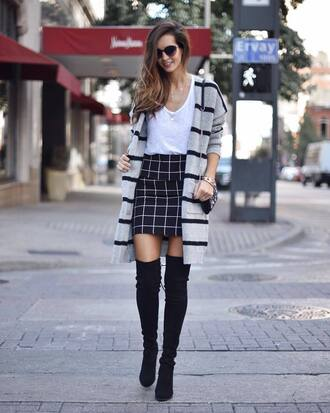 t-shirt white t-shirt skirt blue skirt cardigan grey cardigan shoes black shoes sweater