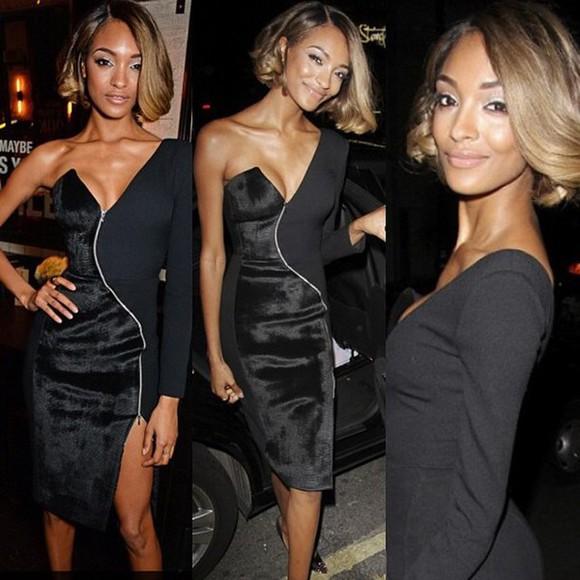 designer style model jordan dunn supermodel haute couture maybelline little black dress black dresses zipper bodycon dress slit skirt jourdan dunn