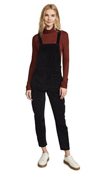 Madewell overalls black velvet jumpsuit