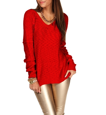 Red textured v neck sweater
