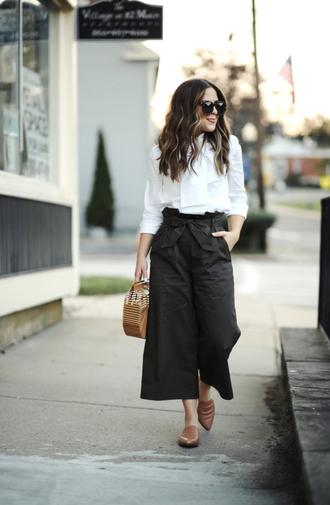 pants tumblr culottes khaki khaki pants shirt white shirt bow shoes mules bag sunglasses blouse