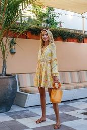 dress,short dress,yellow dress,bag,chic,trendy