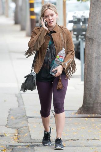 bag purse fringe jacket hilary duff suede jacket