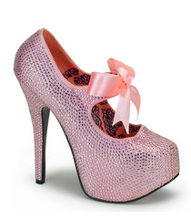 Bordello Baby Pink Glitter Stiletto Platforms | Retro Pin Up Shoes | The Atomic Boutique