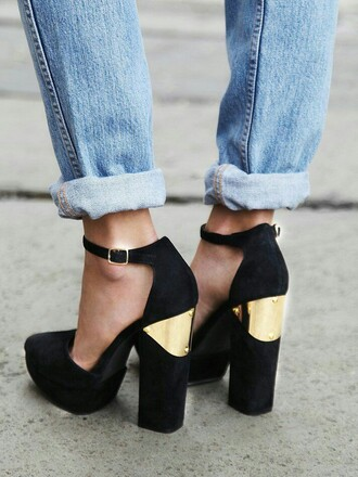 shoes chunky heels gold heels black heels mary jane