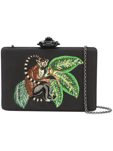 oscar de la renta women clutch black silk bag