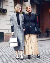 coat,tumblr,grey coat,girl squad,top,black top,turtleneck,black turtleneck top,skirt,midi skirt,grey skirt,shoes,black shoes,flats,pointed flats,black flats,pants,wide-leg pants,nude pants,black blazer,blazer,earrings,gold jewelry,gold earrings,bag,white bag,office outfits,work outfits