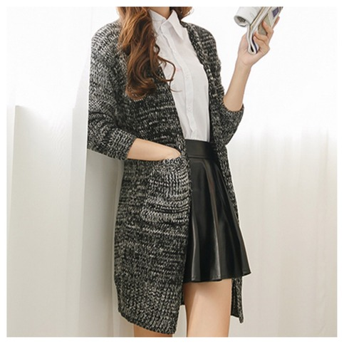 Knitted long cardigan with front pockets from doublelw on storenvy
