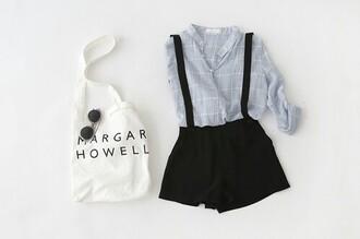 shirt grid collared shirt shorts tumblr artsy hipster