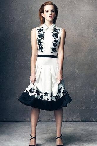 dress emma watson black and white dress collared dress classy