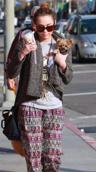 aztec pants tribal pattern shirt jacket miley cyrus sunglasses