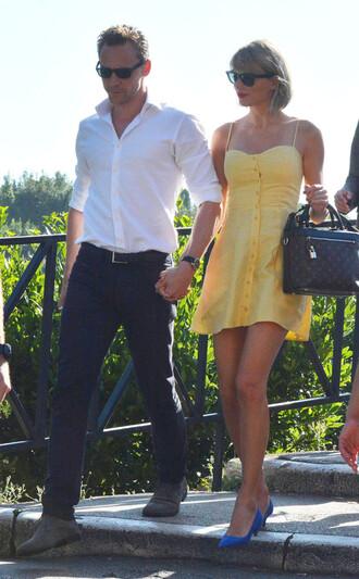 dress summer summer outfits summer dress taylor swift mini dress sunglasses yellow dress