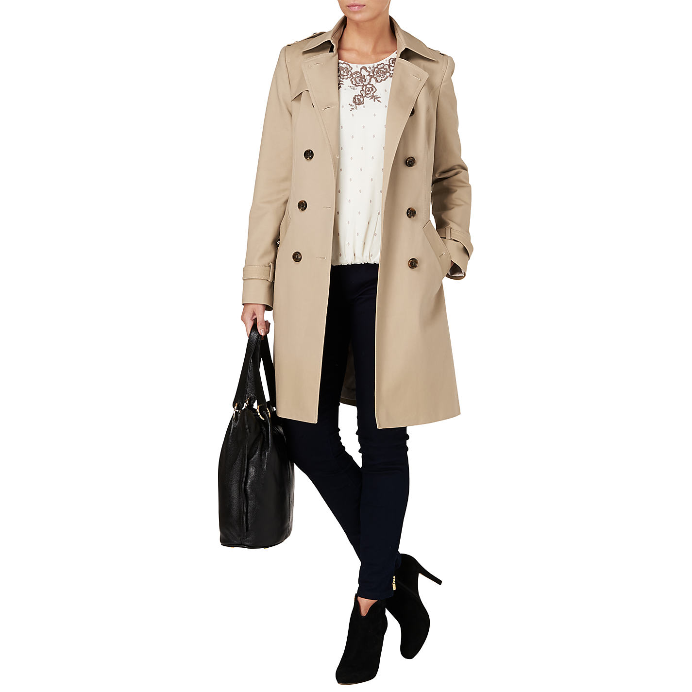 Buy Phase Eight Tabatha Trench Coat, Stone | John Lewis