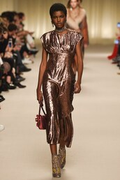 dress,bronze,midi dress,gown,metallic,runway,model,purse,lanvin,fashion week 2016,paris fashion week 2016