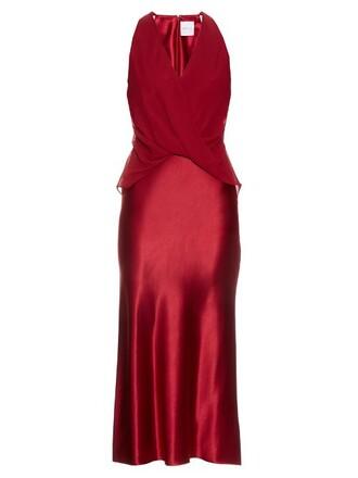 dress midi dress midi silk satin red
