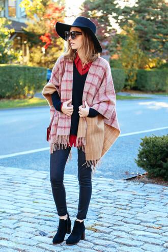 prosecco and plaid blogger jeans blouse sunglasses bag poncho felt hat