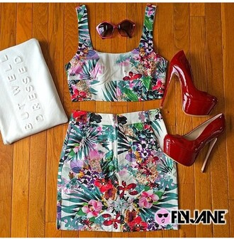skirt skirt set tropical crop tops multicolor 2 piece skirt set hawaiian