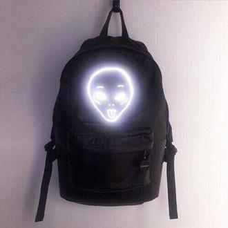 bag bookbag glow in the dark alien galaxy print neon light cute black