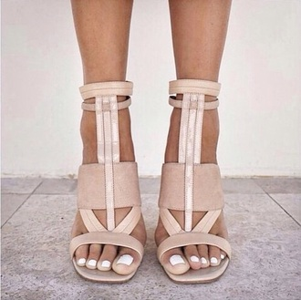 shoes summer nude sandals beige shoes heels