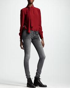 Saint Laurent Skinny Low-Waist Jeans, Bleached Black